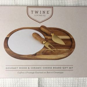 Gourmet Wood & Ceramic Cheese Board Set